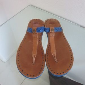 UGG Leather Flip Flops Brown w/ Blue Contrast 8